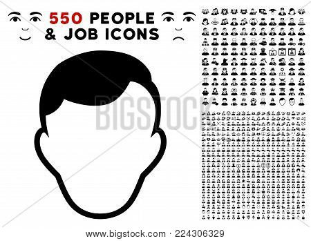 Face Template icon with 550 bonus pitiful and happy jobs pictographs. Vector illustration style is flat black iconic symbols.