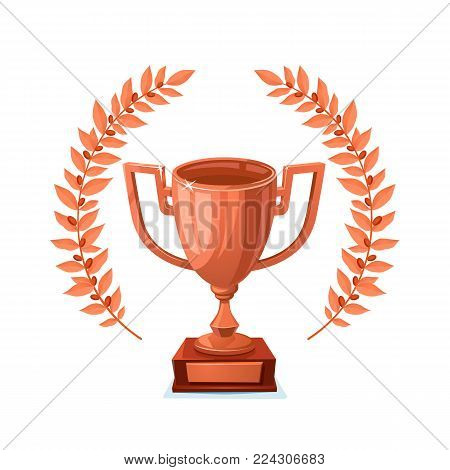 Bronze trophy cup with laurel wreath. Winner award on white background. Bronze goblet. vector illustration