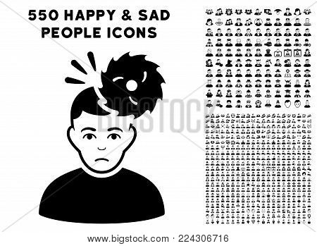Headache icon with 550 bonus pitiful and glad people design elements. Vector illustration style is flat black iconic symbols.