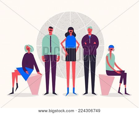 Vector stylized characters. Business illustration. Men and women near the globe. International team, social net