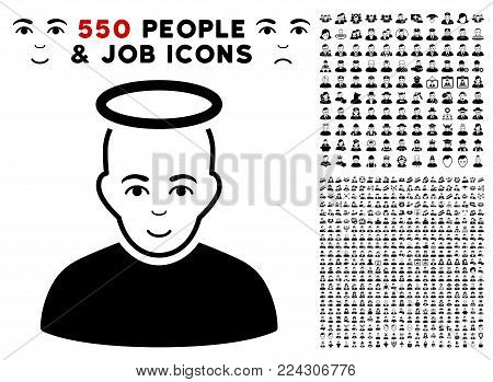 Holy pictograph with 550 bonus pity and happy men pictures. Vector illustration style is flat black iconic symbols.