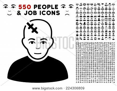 Hurt pictograph with 550 bonus pitiful and glad people icons. Vector illustration style is flat black iconic symbols.