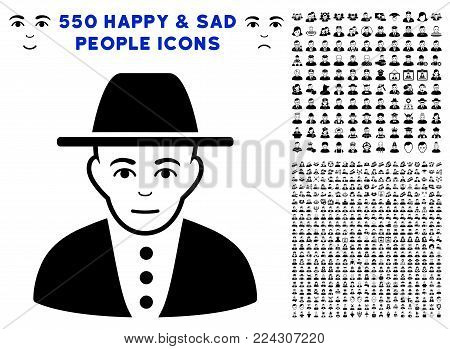 Jew icon with 550 bonus sad and glad people graphic icons. Vector illustration style is flat black iconic symbols.
