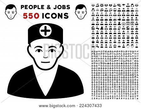 Medic pictograph with 550 bonus pitiful and glad person pictographs. Vector illustration style is flat black iconic symbols.