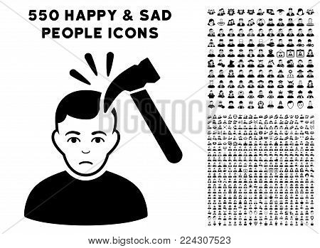 Murder pictograph with 550 bonus pitiful and happy user clip art. Vector illustration style is flat black iconic symbols.