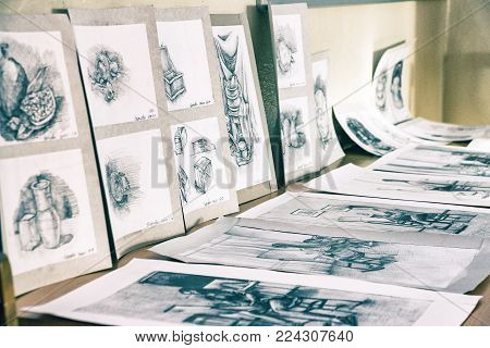 CHAPAEVSK, SAMARA REGION, RUSSIA - JANUARY 26, 2018: College in Chapaevsk city. Exhibition of paintings of students at the College of the city of Chapaevsk