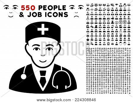 Physician pictograph with 550 bonus pity and glad user symbols. Vector illustration style is flat black iconic symbols.