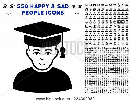 Professor pictograph with 550 bonus sad and happy men clip art. Vector illustration style is flat black iconic symbols.