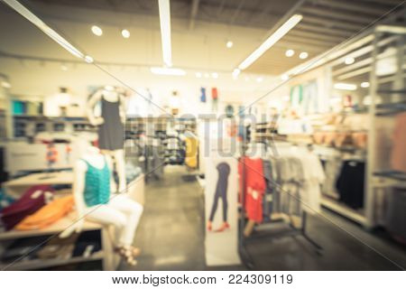 Blurred Mannequins Inside Women Fashion Store In America