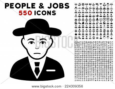 Secret Service Agent icon with 550 bonus pitiful and happy people pictograms. Vector illustration style is flat black iconic symbols.