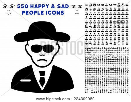 Security pictograph with 550 bonus pitiful and glad people graphic icons. Vector illustration style is flat black iconic symbols.