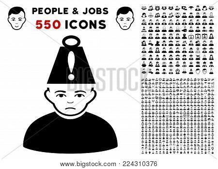 Stress icon with 550 bonus pity and happy jobs design elements. Vector illustration style is flat black iconic symbols.