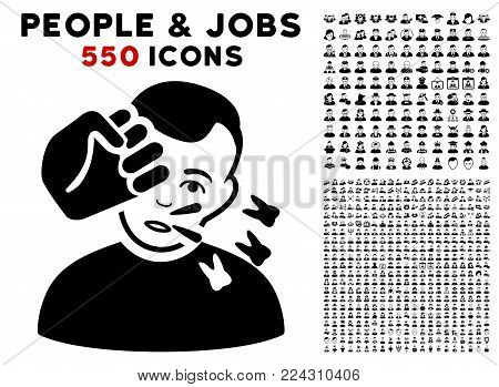 Strike icon with 550 bonus pity and happy jobs pictures. Vector illustration style is flat black iconic symbols.