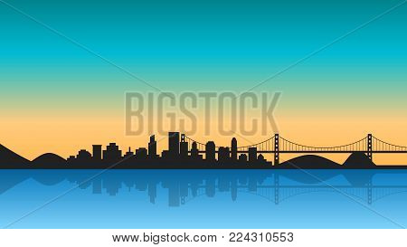 Silhouette of City with reflection on sunrise. Cityscape background with bridge. Vector illustration in flat style design. Buildings silhouettes,urban landscape