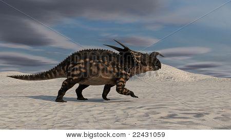 einiosaurus in desert poster