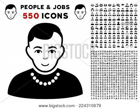 Trendy pictograph with 550 bonus pity and glad people pictures. Vector illustration style is flat black iconic symbols.
