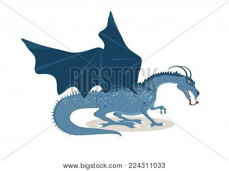 Viking cartoon character. The Great Fire-breathing Dragon. Mythical creature. Vector illustration. Flat style.