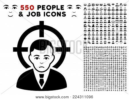 Victim icon with 550 bonus pity and happy user pictures. Vector illustration style is flat black iconic symbols.