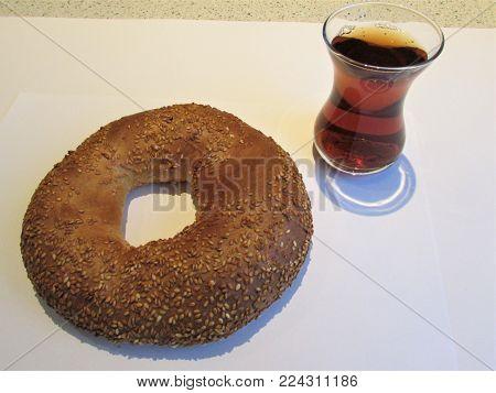 Turkish donut simit and turkish tea traditional.