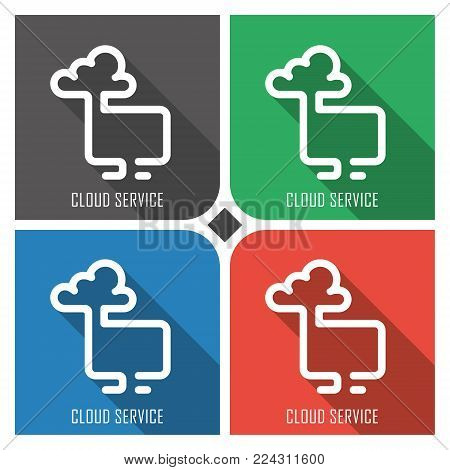 cloud service flat vector icon on colorful background. simple PC web icons eps8. on layers.