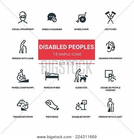 Disabled people - line design silhouette icons set. Wheelchair, crutches, person with cane, speech disorder, visual and hearing impairment, ramp, in bed, guide dog, parking, transportation, prothesis, cast