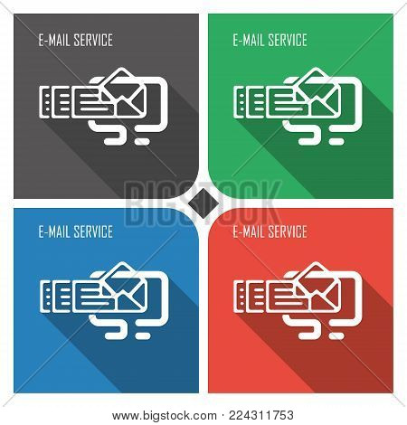 e-mail service flat vector icon on colorful background. simple PC web icons eps8. on layers.