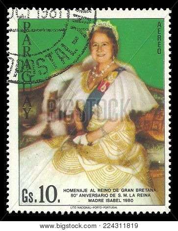 Paraguay - circa 1981: Stamp printed by Portugal, Color edition on Heads of state, shows Queen Mother Elizabeth, circa 1981