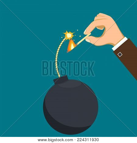 Human hand set fire to the wick of a bomb. Terrorism and violence. Stock vector cartoon illustration. Flat graphic style.