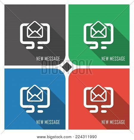 new message flat vector icon on colorful background. simple PC web icons eps8. on layers.