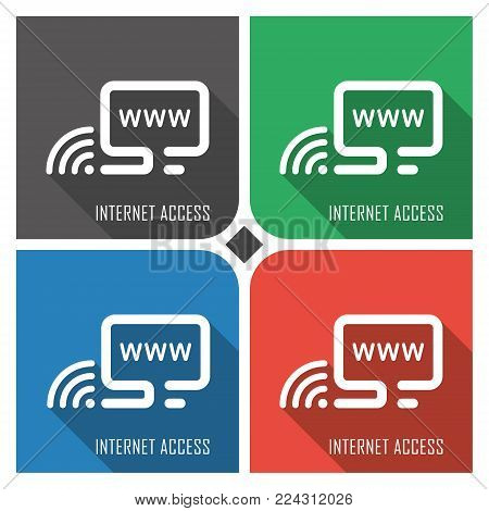 internet access flat vector icon on colorful background. simple PC web icons eps8. on layers.