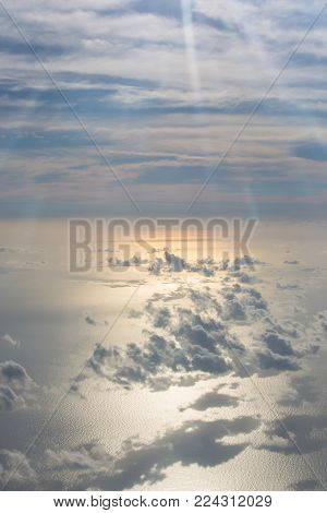 Clouds in the sky, view from an airplane