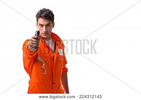Prisoner with gun isolated on white background