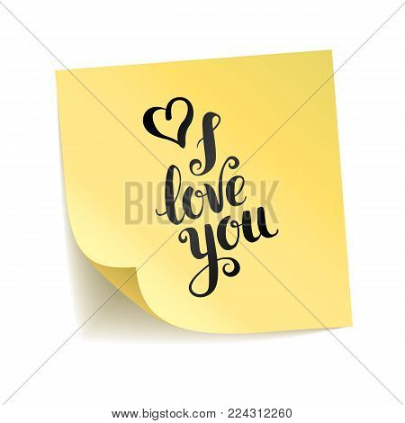 Note yellow sticker love you. Happy Valentines day, heart symbol. Typography logo on stick background. Paper shadow, notice board. Sticky message, graphic text. Transparent backdrop.