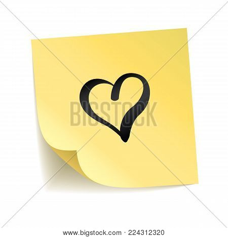 Note yellow sticker heart i love you. Happy Valentines day, lovely symbol. Typography logo on stick. Transparent background, shadow, notice board. Sticky message, graphic text. Happy notice