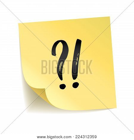 Note yellow sticker exclamation point, question mark, interrogation point, Information notise, alarm sign. Typography logo on stick. Transparent background, shadow, To do list. Attention notice.
