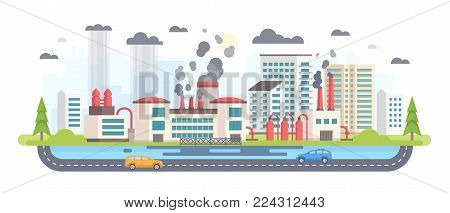 Urban landscape with factory - modern flat design style vector illustration on white background. A composition with a big plant making hazardous substances emissions. Air, water pollution concept
