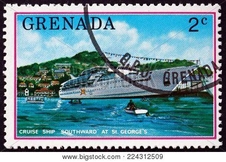 GRENADA - CIRCA 1976: a stamp printed in Grenada shows cruise ship in St. George's harbor, tourist publicity, circa 1976
