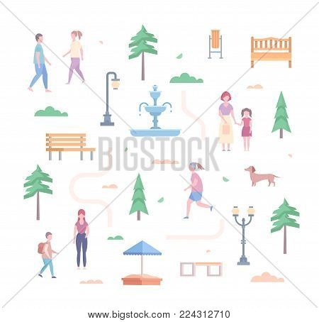 City park elements - set of modern flat design style objects isolated on white background. Trees, lanterns, benches, bin, sandbox, road, bush, fountain, people running and walking, dog