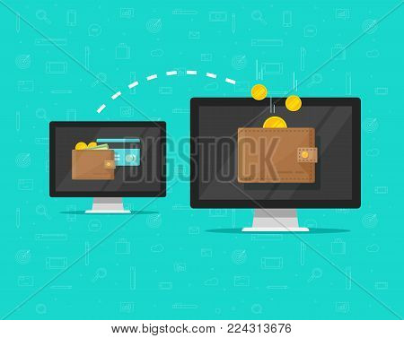 Electronic money transfer vector illustration, flat cartoon design of two computers pc with digital wallets transferring money electronically, sending or receiving cash online via internet banking