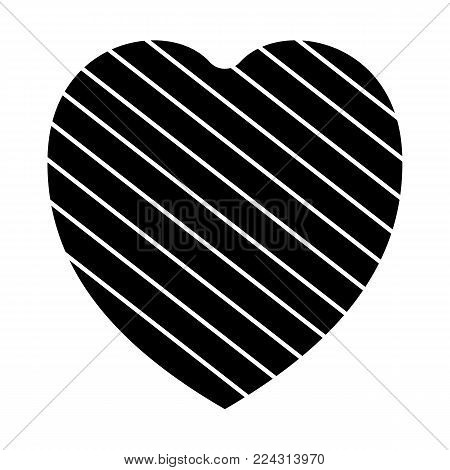 Valentine Heart Simbol. Heart Black Colour On White Background.