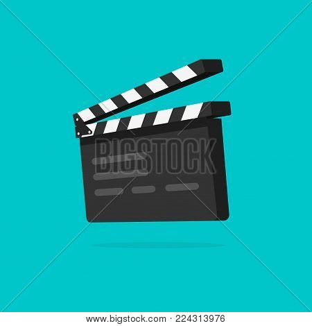 Clapperboard vector illustration isolated, flat cartoon style clapper board icon in 3d, filmmaking device, video movie clapper equipment, film slate