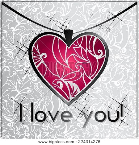 card recognition, I love you with a heart as a pendant with purple enamel on silver background abstract shapes
