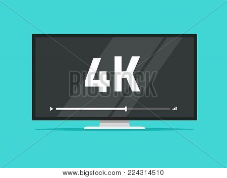 Flat screen tv with 4k Ultra HD video technology vector illustration, led television display with high definition digital tech symbol, idea of wide screen computer monitor, flat cartoon