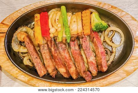 The Beef Teppanyaki Recipe On Table.(japanese Steak)