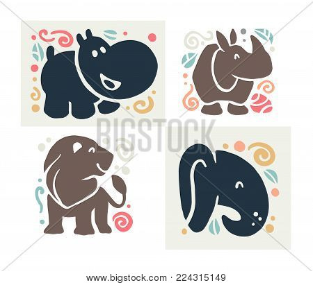 Vector flat cute funny hand drawn animal silhouette isolated on white background - hippo, rhino, lion and elephant. Perfect for children goods store logo, kid clothes and accessory prints, zoo logo.