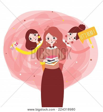 Girls reading book with phrase lets read book learn together illustration vector