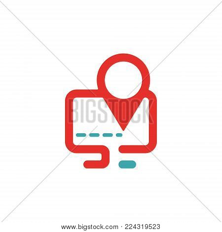 Vector illustration of PC and map pointer icon. Rad and blue pc icon on white background. PC pictogram and geolocation. Laptop icon in two colors