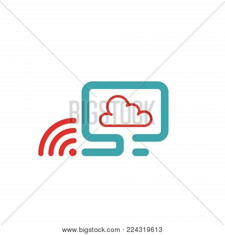 Vector illustration of PC, wlan icon and cloud computing. Rad and blue pc icon on white background. PC pictogram and wi-fi spot. Cloud computing icon and wireless.