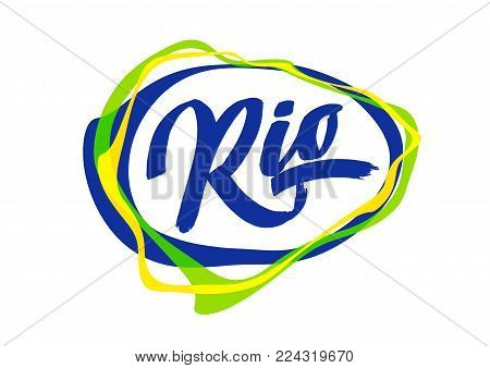 Vector illustration: Handwritten lettering of Rio in abstract colorful speech bubble.