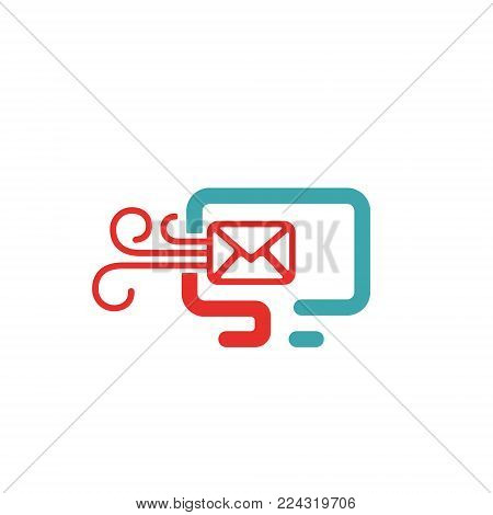 Vector illustration of PC and mail icon. Rad and blue message icon on white background. PC pictogram and incoming message icon . Laptop icon in two colors